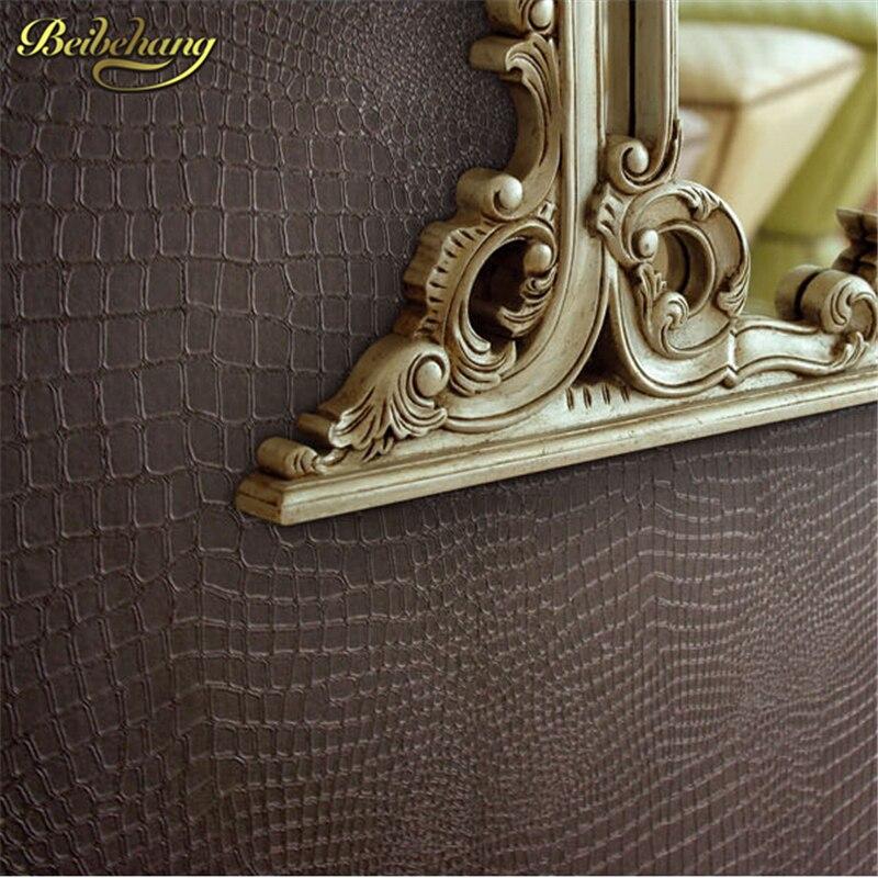 beibehang papel de parede. Fashion Modern Design Wallpaper Faux Crocodile Skin Leather Wall Paper White Grey Brown Wallpaper<br>