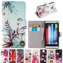 Fashion Painting Leather Flip Wallet Case For HTC One M7 801E M8 M9 E9 Plus FLower US UK Flag Butterfly Pattern Fundas Capa