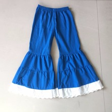 Children Big Blue Flare Splice Cloth Baby Girls Long Cotton Pants Wholesale Price Have 5 sizes S-XXL Look Size Chart(China)