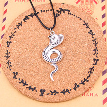 New Silver Tibetan king cobra snake Necklace Pendant with Leather Cord and Handmade Jewelry Factory Price Fashion