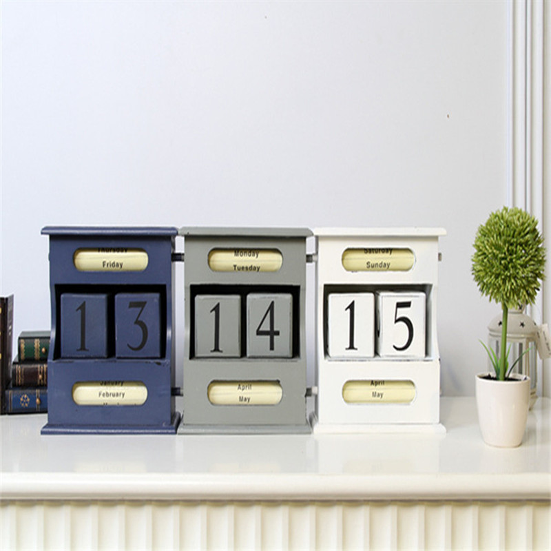 Coloffice Vintage Mediterranean Style Wood Perpetual Calendar DIY Calendar Art Crafts Home Office School Desk Decoration Gifts<br>