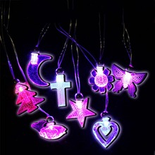 2018 Crystal Love Heart Star LED Flashing Necklace Pendants Kids Adults Favors Gift Glow Party Christmas Navidad New Year(China)