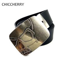 New Fashion Cool Pu Leather Belt Silver Skull Big Belt Buckles Metal For Men Jeans Vintage Cowboy Fivela Caveira Cinto Masculino(China)