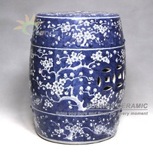 Antique Chinese HAND PAINTED Plum Blossom Blue and White Ceramic Garden Furniture Stool