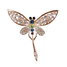 Factory Direct Sale Gold Color Plated Crystal Rhinestones Dragonfly Brooch Pins Fashion Costume Jewelry(China)