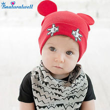 Bnaturalwell Baby Kids Autumn Winter Warm Cotton Beanie Hat Toddler Girls Boys Caps Cute Baby Cartoon bear ear Beanies 1pc H760(China)