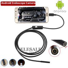 5.5mm 1M Cable Waterproof Endoscope Camera 6LED OTG USB Android Borescope Inspection Underwater Fishing For Windows PC(Hong Kong)
