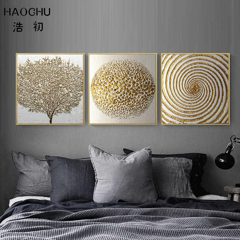 Classic Canvas Paintings Mysterious Golden&Black Pattern Tree Fork Shape No Frame Unframed Wall Art For Home Room Decoration