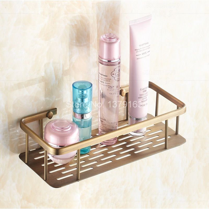 Vintage Antique Brass Wall Mounted Bathroom Accessory Single Tier Soap / Sponge Corner Shower Storage Basket aba107<br>