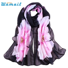 Womail Good Deal Fashion Good Quality New Women Lady Scarves Soft Thin Chiffon Scarf Flower printed Scarves Wrap Shawl Gift 1PC