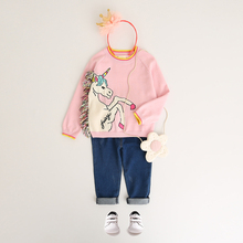 Girls Tassel Sweaters Autumn Clothing Winter Pullover Horse Sweater Cartoon Unicorn Long Sleeve Outerwear O-neck Kids Knitwear(China)