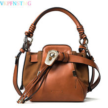 2017 new brand top-handle bags small shoulder bag vintage designer bucket bag with Drawstring belt leisure crossbody bags female(China)