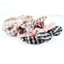 Fashion Girls Bunny Ear Hair Scarf Plaid Headband Rabbit Bow WIth Stretchy Hairband Accessories 12Pcs/lot