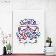 Modern Watercolor Darth Vader Mask Pop Star Movie Poster Kids Boy Room Wall Art Print Picture Home Deco Canvas Painting No Frame(China)