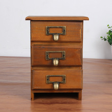 Retro Wooden Old Style Trinket Storage Box For Jewelry Case Desktop Office Organizer Cosmetic Storage Case With Drawer Cabinet