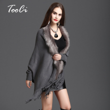 New Winter Womens Fashion Fake Fox Fur Collar Cashmere Sweater Poncho Women Long Thick Knitted tassel Cardigan Capes(China)
