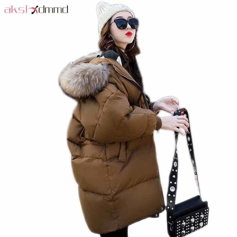 AKSLXDMMD Parka Mujer Winter Jacket Women 2017 New Casual Fur Collar Hooded Mid-long Coats Female Loose Warm Overcoat LH1198Îäåæäà è àêñåññóàðû<br><br>
