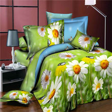 3D Bedclothes Rose Flower Sunflower Peony Lotus Colorful Flower 4pcs Bedding Sets King Or Queen Reactive Print