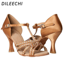 DILEECHI Red Blue Bronze Black Satin spot Women's Latin dance shoes Party Salsa square shoes With or Without rhinestones 7.5cm(China)