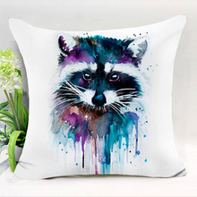 Comwarm Colorful Painting Animals Series Polyester Cushion Indian Fox Civet cats Bird Dogs Flocks Sofa Seat Car Home Decor Art(China)