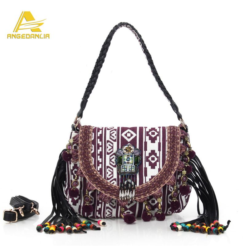 Angedanlia national women handbag Hippie Gypsy Boho sequined tassel shoulder bag Bohemian handmade knit fabric gold ethnic bags<br><br>Aliexpress