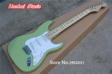 Hot Sale Custom Electric Guitar,Green Color,White Pickguard,Maple Fretboard,3 Single Pickups,can be Customized