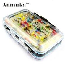 Anmuka 64pcs/sets fly fishing lure set Artificial Insect bait trout fly fishing hooks tackle with case box(China)