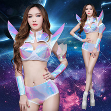 Sexy Space Warrior Symphony Flying Shrugging Laser Fabric Split Suit Jazz Hip-hop Party Dancer DS Nightclub Stage Wear #8483(China)