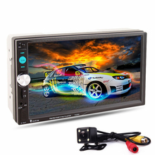 7023D 2DIN 7-inch Bluetooth HD Car Stereo Audio Player with Card Reader Radio Fast Charge with Rear View Camera Car MP5 Player