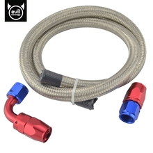 AN6 Double Stainless Steel Braided Hose Oil Fuel Hose 1Meter+AN 6 Straight Hose End 90 Degree Swivel Oil Fittings Adapter Kits