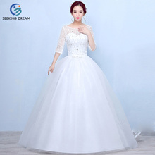 2017 Girls Summer Fashion Ivory White Ball Gown Dress Lace Sleeve Bow Wedding Dress Elegant Bride Princess Customzie Size DL023(China)