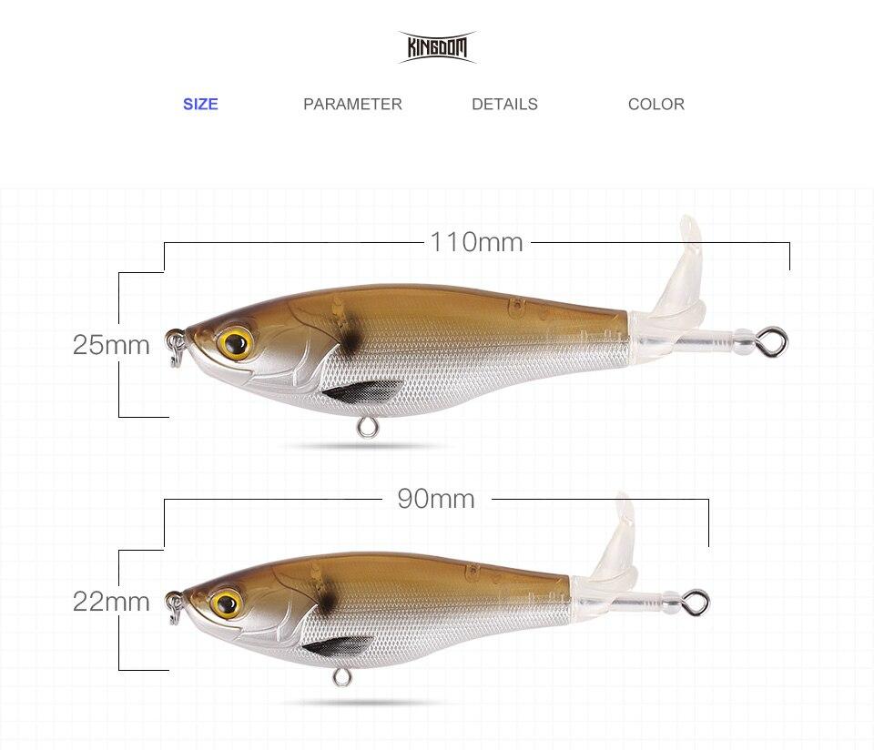 Kingdom 2019 New Whopper Plopper Fishing Lure 10cm 12cm Topwater Hard Baits Popper Soft Rotating Tail Wobblers Artificial Bait (2)
