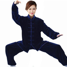 High Quality Navy BlueTraditional Chinese Classic Style Kung Fu Sets Women Tai Chi Suit Size Size XXS TO XXXL