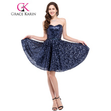 Grace Karin Sequins Short Prom Dresses Sparkly Sweetheart Knee Length Navy Blue Evening Gown Sexy Prom Party Dress Bling 2017