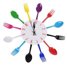 New Modern DIY Wall Clock Stainless steel Wall Watch Quartz Knife Fork Spoon Home Office Decor(China)