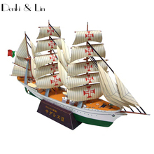 1:300 3D Portuguese Navy NRP Sagres Tall Ship Sailing School Ship Paper Model Assemble Hand Work Puzzle Game DIY Denki & Lin Toy