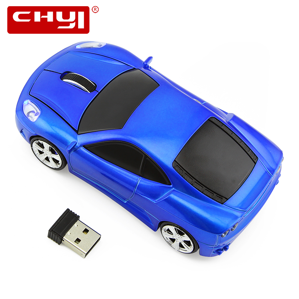 CHYI 2.4GHZ Wireless Computer Optical Mouse 3D 1600 DPI Gaming Mice Sports Car Shaped Mause 3 Color For Laptop Shipped from US(China)