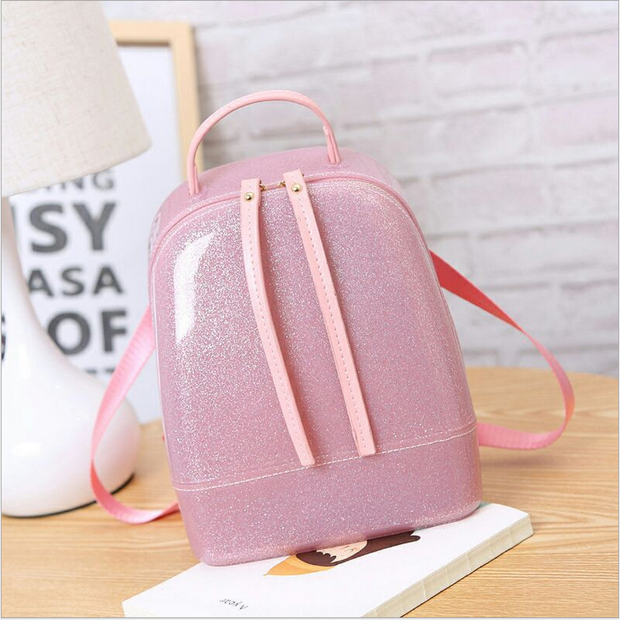 2017 Jelly Backpack Cute Candy Backpacks For Teenage Girls Plastic Silicone Waterproof Transparent Backpack PVC School Women Bag<br>