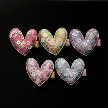 20pc/lot Hot Pink with Shining Sequin Star Kids Hairpin Round Glitter Star Love Heart Hair Girl Hair Barrette Purple Hair Clips