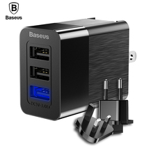 Baseus 3 Port USB Charger 3 in 1 Triple EU US UK Plug 2.4A Travel Wall Charger Adapter Mobile Phone Charger For iPhone X Samsung(China)