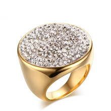 Rings for Women 27mm Stainless Steel Mud Sticky Rings Gold Color Women Fashion Shambura Jewelry(China)