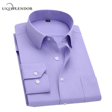Long Sleeve Slim Men Dress Shirt 2017 Brand New Fashion Designer High Quality Solid Male Clothing Fit Business Shirts 4XL YN045