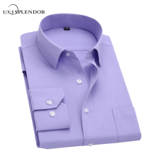 Long Sleeve Slim Men Dress Shirt 2018 Brand New Fashion Designer High Quality Solid Male Clothing Fit Business Shirts 4XL YN045(China)
