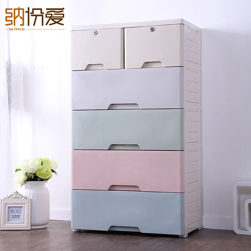 Clothes Storage plastic box Clear big Stackable Home Container Organizer Bin storage drawer organizer cabinet(China (Mainland))