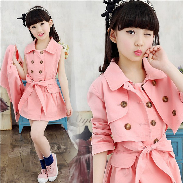 Spring New Product Girl Long Windbreaker Loose Coat Two Pieces Kids Clothing Sets<br>