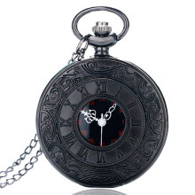 Vintage Charm Black Unisex Fashion Roman Number Quartz Steampunk Pocket Watch Women Man Necklace Pendant with Chain Gifts P427