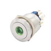 "UL AC 5A 250V 22mm 0.87"" Mounting Thread Dot Round 1NO 1NC DPST Latching Metal Waterproof Push Button Switch with Green Light"