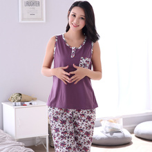 Plus Size M-4XL 100% Cotton Women Pajamas Set Small Floral Sleepwear Vest Casual Tracksuit 2 piece Sexy Summer Home Lounge Gift(China)