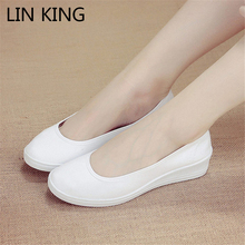 LIN KING New Arrival Women Flat Shoes Slip On Low Top Flock Solid Simple Shoes Round Toe Thick Sole Anti-skid Ankle Shoes Soft