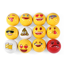 12pcs Emoji Funny Cute Golf Ball Accessory Gift Rubber Surlyn for Golfing Game Training Kids Golfers(China)